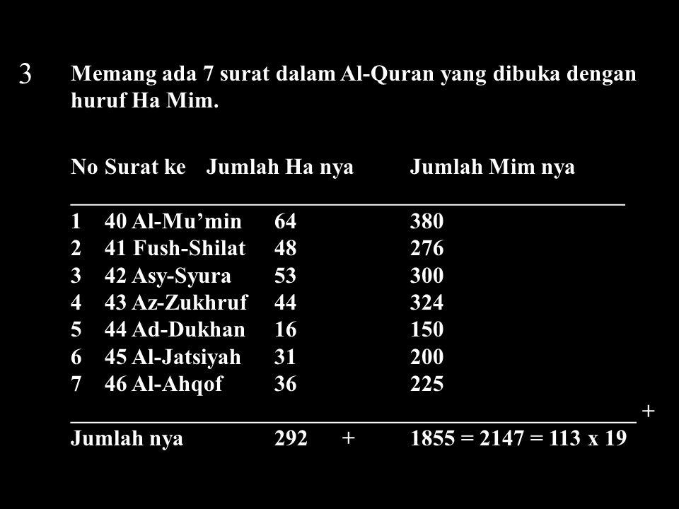 3 Memang ada 7 surat dalam Al-Quran yang dibuka dengan huruf Ha Mim. NoSurat keJumlah Ha nyaJumlah Mim nya ___________________________________________