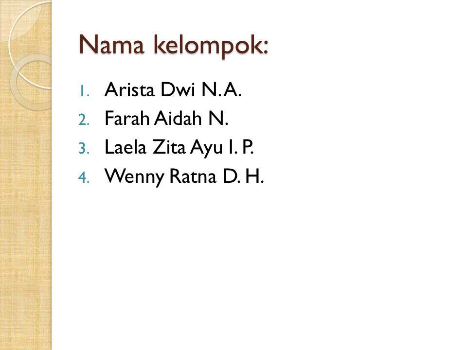 Nama kelompok: 1. Arista Dwi N. A. 2. Farah Aidah N. 3. Laela Zita Ayu I. P. 4. Wenny Ratna D. H.