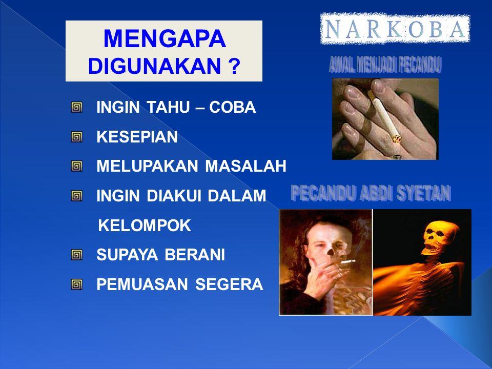 EFEK NARKOBA JIKA DIPAKAI 1.KENIKMATAN SESAAT : MENGHILANGKAN STRESS, GEMBIRA TERUS DAN BEBAS 2.MENGHILANGKAN RASA SAKIT, RASA LAPAR, LIBIDO