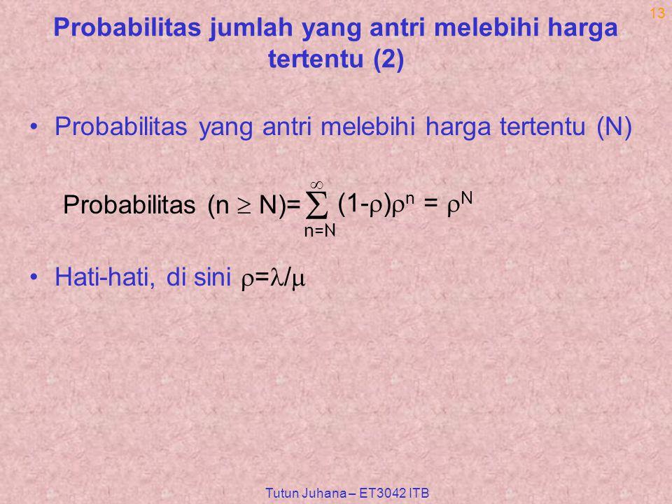 Tutun Juhana – ET3042 ITB 13 Probabilitas jumlah yang antri melebihi harga tertentu (2) Probabilitas yang antri melebihi harga tertentu (N) Hati-hati, di sini  = /   n=N  Probabilitas (n  N)= (1-  )  n =  N