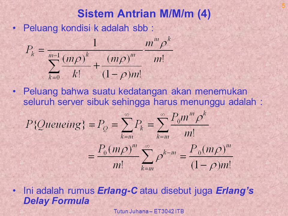 Tutun Juhana – ET3042 ITB 5 Sistem Antrian M/M/m (4) Peluang kondisi k adalah sbb : Peluang bahwa suatu kedatangan akan menemukan seluruh server sibuk sehingga harus menunggu adalah : Ini adalah rumus Erlang-C atau disebut juga Erlang's Delay Formula