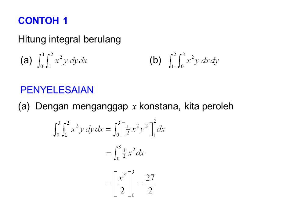 CONTOH 1 Hitung integral berulang (a)(b) PENYELESAIAN (a) Dengan menganggap x konstana, kita peroleh