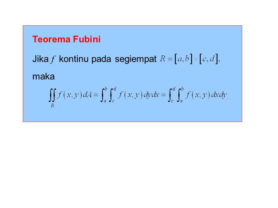 Teorema Fubini Jika f kontinu pada segiempat maka