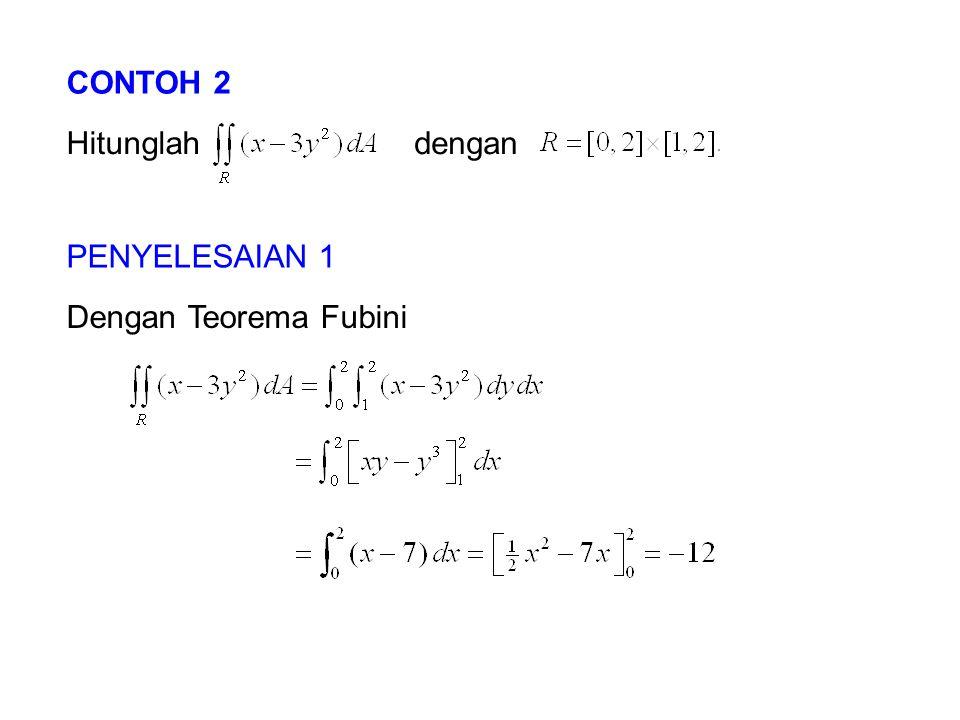 CONTOH 2 Hitunglahdengan PENYELESAIAN 1 Dengan Teorema Fubini