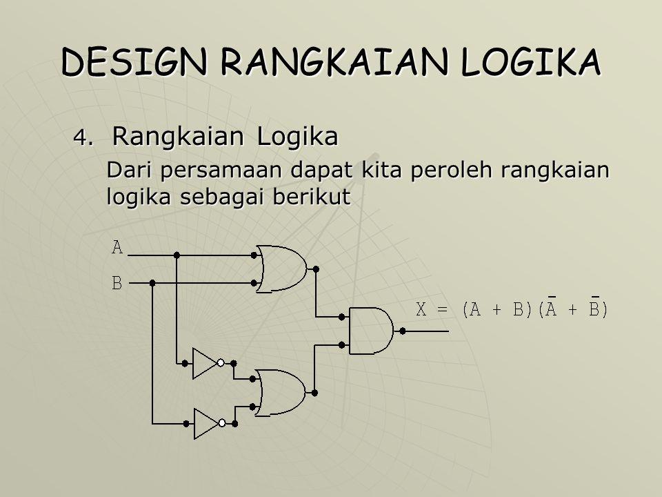 DESIGN RANGKAIAN LOGIKA 4. Rangkaian Logika Dari persamaan dapat kita peroleh rangkaian logika sebagai berikut