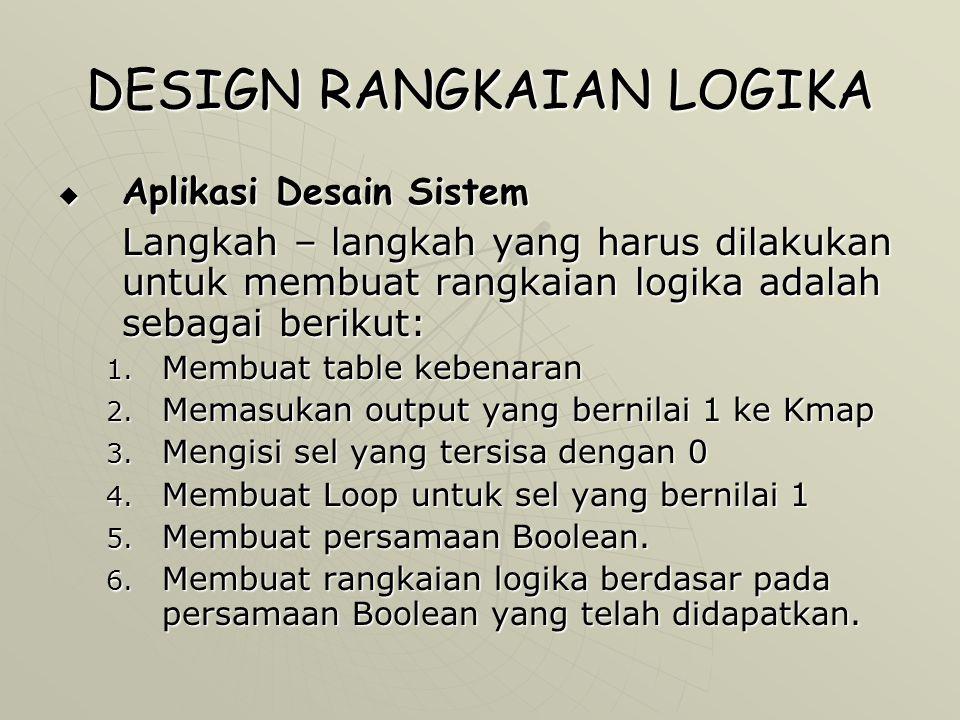 DESIGN RANGKAIAN LOGIKA  Aplikasi Desain Sistem Langkah – langkah yang harus dilakukan untuk membuat rangkaian logika adalah sebagai berikut: 1. Memb