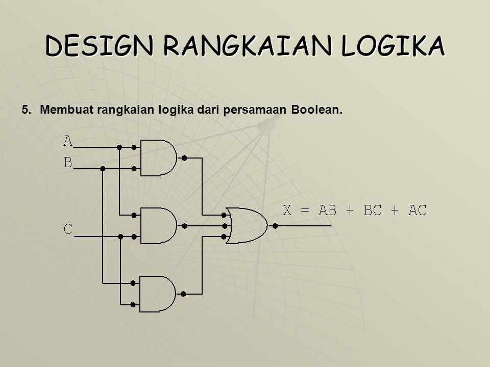 DESIGN RANGKAIAN LOGIKA 5.Membuat rangkaian logika dari persamaan Boolean.