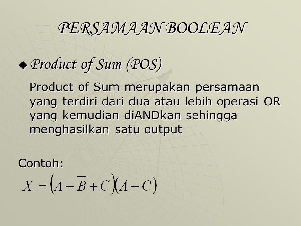 PERSAMAAN BOOLEAN  Product of Sum (POS) Product of Sum merupakan persamaan yang terdiri dari dua atau lebih operasi OR yang kemudian diANDkan sehingg