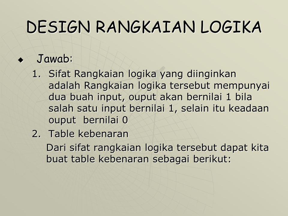 DESIGN RANGKAIAN LOGIKA  Jawab: 1.Sifat Rangkaian logika yang diinginkan adalah Rangkaian logika tersebut mempunyai dua buah input, ouput akan bernil