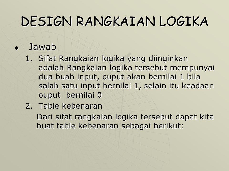  Jawab 1.Sifat Rangkaian logika yang diinginkan adalah Rangkaian logika tersebut mempunyai dua buah input, ouput akan bernilai 1 bila salah satu inpu
