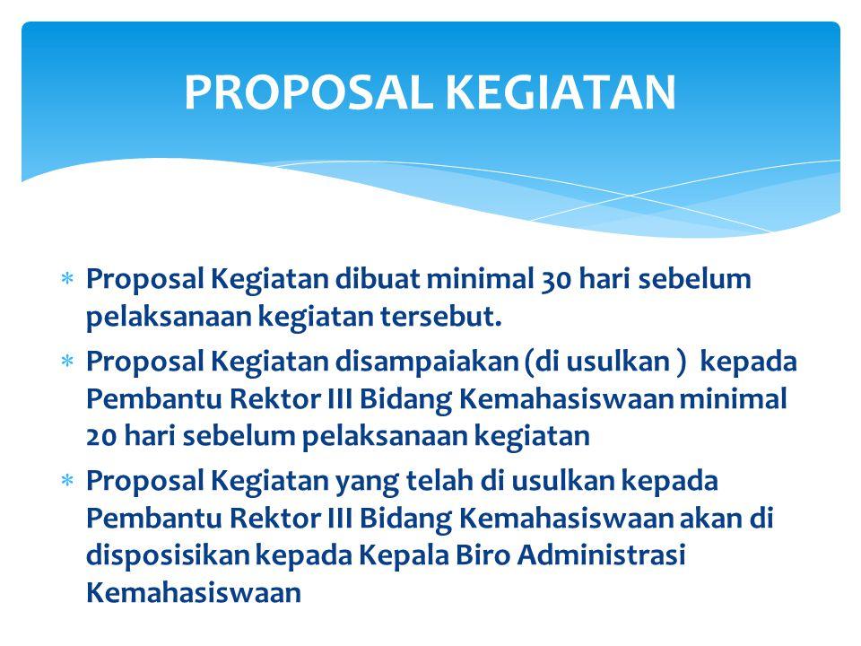  Proposal Kegiatan dibuat minimal 30 hari sebelum pelaksanaan kegiatan tersebut.