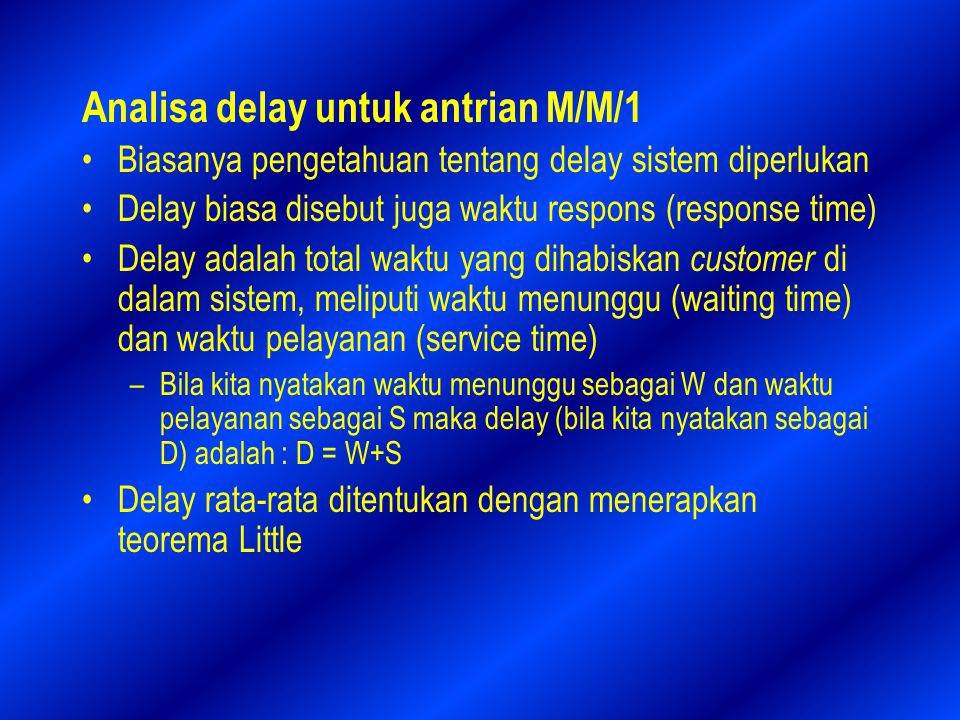 Analisa delay untuk antrian M/M/1 Biasanya pengetahuan tentang delay sistem diperlukan Delay biasa disebut juga waktu respons (response time) Delay adalah total waktu yang dihabiskan customer di dalam sistem, meliputi waktu menunggu (waiting time) dan waktu pelayanan (service time) –Bila kita nyatakan waktu menunggu sebagai W dan waktu pelayanan sebagai S maka delay (bila kita nyatakan sebagai D) adalah : D = W+S Delay rata-rata ditentukan dengan menerapkan teorema Little