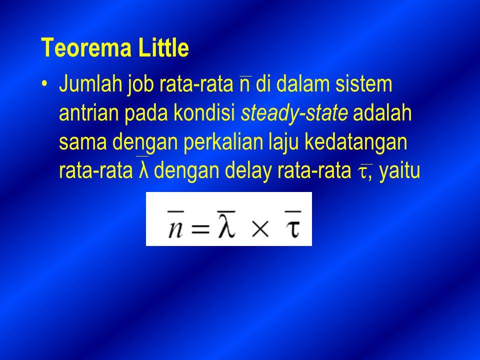 Teorema Little Jumlah job rata-rata n di dalam sistem antrian pada kondisi steady-state adalah sama dengan perkalian laju kedatangan rata-rata λ dengan delay rata-rata , yaitu