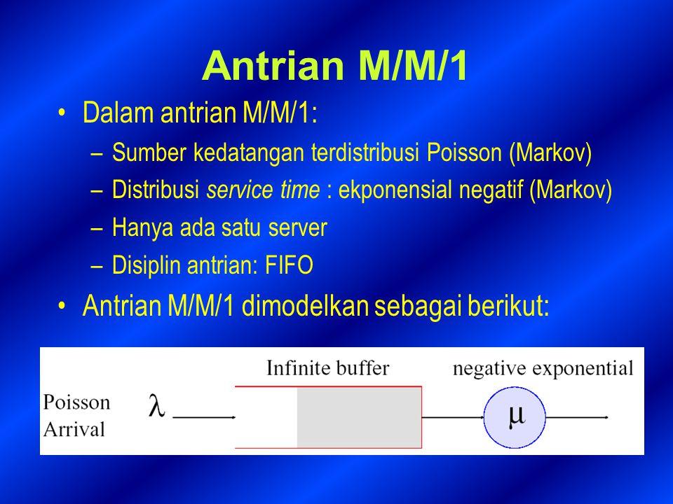 Analisa antrian M/M/1 Misalkan P n ( t ) menyatakan peluang adanya n customers di dalam antrian pada waktu t Peluang adanya n customers pada waktu t+∆t dinyatakan sebagai berikut bila ∆t kecil: P n ( t + ∆t )= P n ( t )[(1−λ∆t)(1−µ∆t )+ λ∆t µ∆t ] + P n − 1 ( t ) [ λ∆t ( 1 − µ∆t ) ] + P n + 1 ( t ) [ µ∆t ( 1 − λ∆t ) ] = [1−(λ + µ)∆t]P n (t)+λ∆t P n−1 (t) + µ∆t P n+1 ( t ) (orde kedua∆t 2 diabaikan)