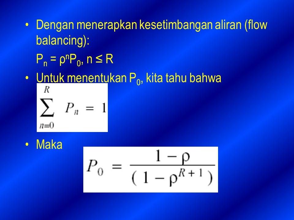 Dengan menerapkan kesetimbangan aliran (flow balancing): P n = ρ n P 0, n ≤ R Untuk menentukan P 0, kita tahu bahwa Maka