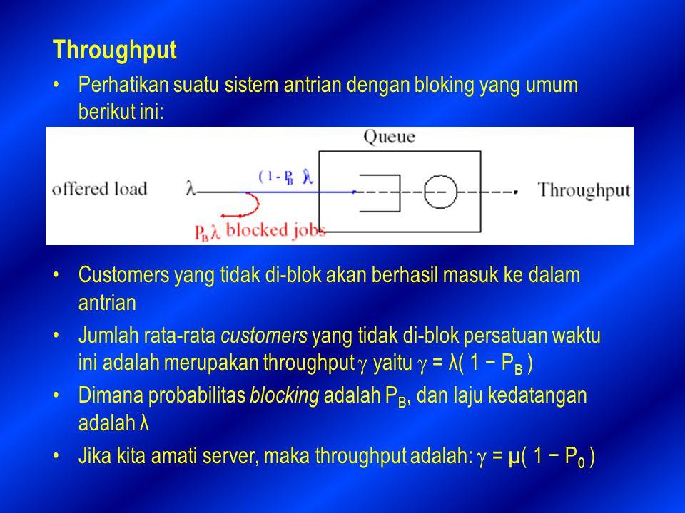 Throughput Perhatikan suatu sistem antrian dengan bloking yang umum berikut ini: Customers yang tidak di-blok akan berhasil masuk ke dalam antrian Jumlah rata-rata customers yang tidak di-blok persatuan waktu ini adalah merupakan throughput  yaitu  = λ( 1 − P B ) Dimana probabilitas blocking adalah P B, dan laju kedatangan adalah λ Jika kita amati server, maka throughput adalah:  = µ( 1 − P 0 )