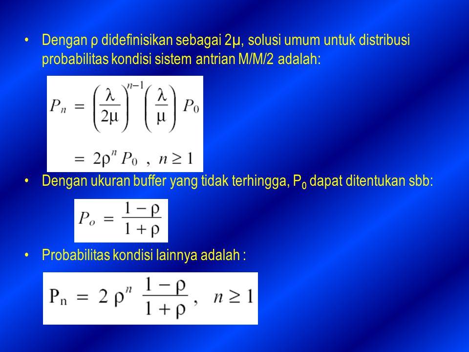 Dengan ρ didefinisikan sebagai 2µ, solusi umum untuk distribusi probabilitas kondisi sistem antrian M/M/2 adalah: Dengan ukuran buffer yang tidak terhingga, P 0 dapat ditentukan sbb: Probabilitas kondisi lainnya adalah :