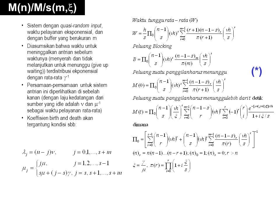 M(n)/M/s(m,  ) Sistem dengan quasi-random input, waktu pelayanan eksponensial, dan dengan buffer yang berukuran m Diasumsikan bahwa waktu untuk meninggalkan antrian sebelum waktunya (menyerah dan tidak melanjutkan untuk menunggu (give up waiting)) terdistribusi ekponensial dengan rata-rata  -1 Persamaan-perrsamaan untuk sistem antrian ini diperlihatkan di sebelah kanan (dengan laju kedatangan dari sumber yang idle adalah dan  -1 sebagai waktu pelayanan rata-rata) Koeffisien birth and death akan tergantung kondisi sbb: (*)