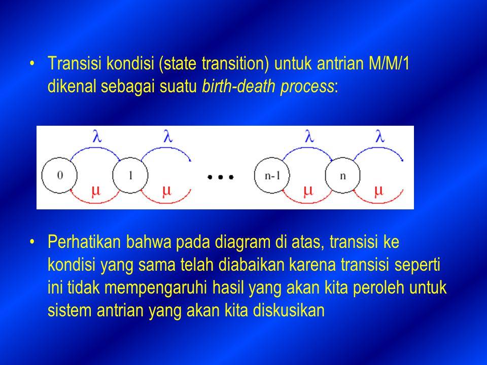 Transisi kondisi (state transition) untuk antrian M/M/1 dikenal sebagai suatu birth-death process : Perhatikan bahwa pada diagram di atas, transisi ke kondisi yang sama telah diabaikan karena transisi seperti ini tidak mempengaruhi hasil yang akan kita peroleh untuk sistem antrian yang akan kita diskusikan