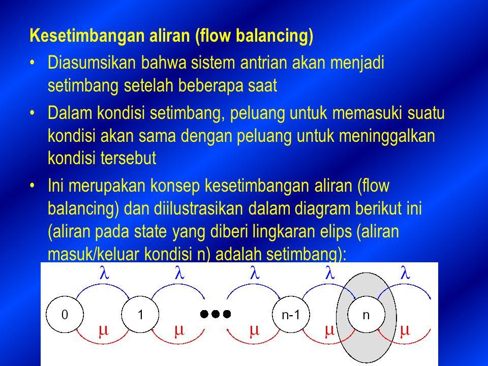 Kesetimbangan aliran (flow balancing) Diasumsikan bahwa sistem antrian akan menjadi setimbang setelah beberapa saat Dalam kondisi setimbang, peluang untuk memasuki suatu kondisi akan sama dengan peluang untuk meninggalkan kondisi tersebut Ini merupakan konsep kesetimbangan aliran (flow balancing) dan diilustrasikan dalam diagram berikut ini (aliran pada state yang diberi lingkaran elips (aliran masuk/keluar kondisi n) adalah setimbang):