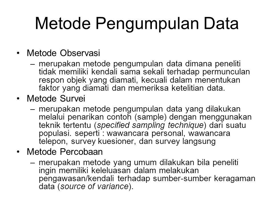 Metode Pengumpulan Data Metode Observasi –merupakan metode pengumpulan data dimana peneliti tidak memiliki kendali sama sekali terhadap permunculan re