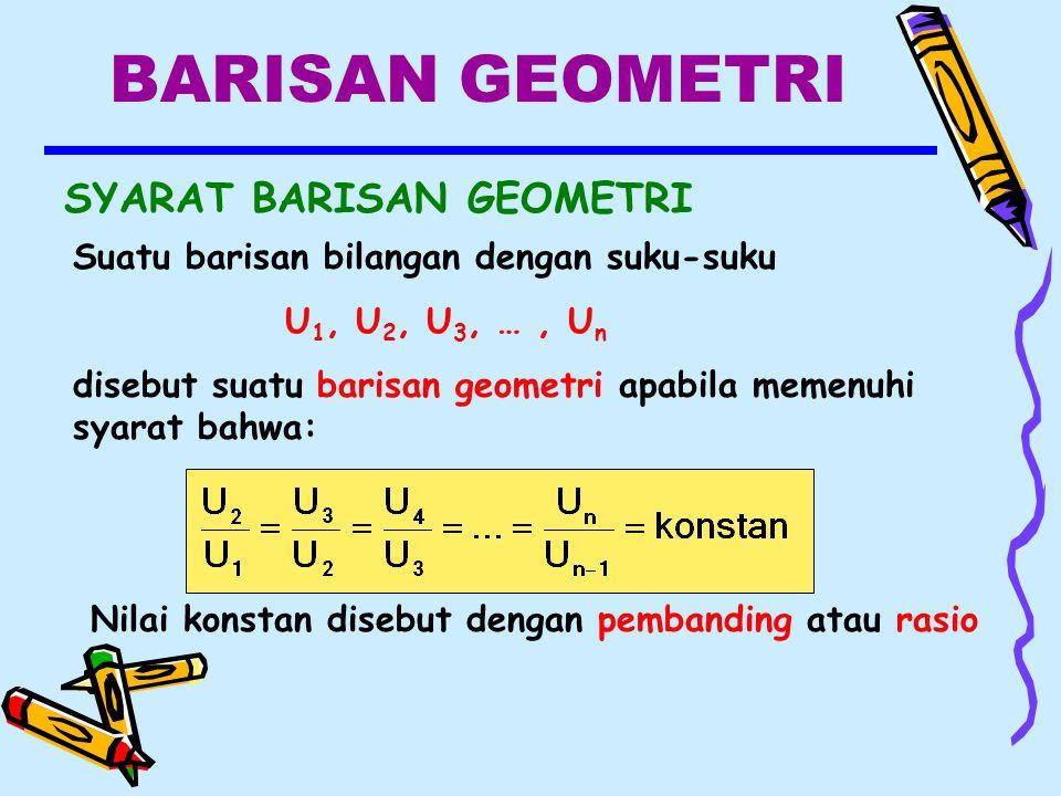 BARISAN GEOMETRI SYARAT BARISAN GEOMETRI Nilai konstan disebut dengan pembanding atau rasio Suatu barisan bilangan dengan suku-suku U 1, U 2, U 3, …, U n disebut suatu barisan geometri apabila memenuhi syarat bahwa: