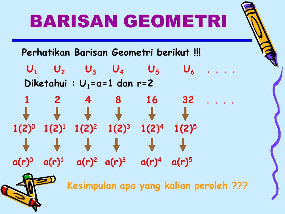 BARISAN GEOMETRI Perhatikan Barisan Geometri berikut !!.