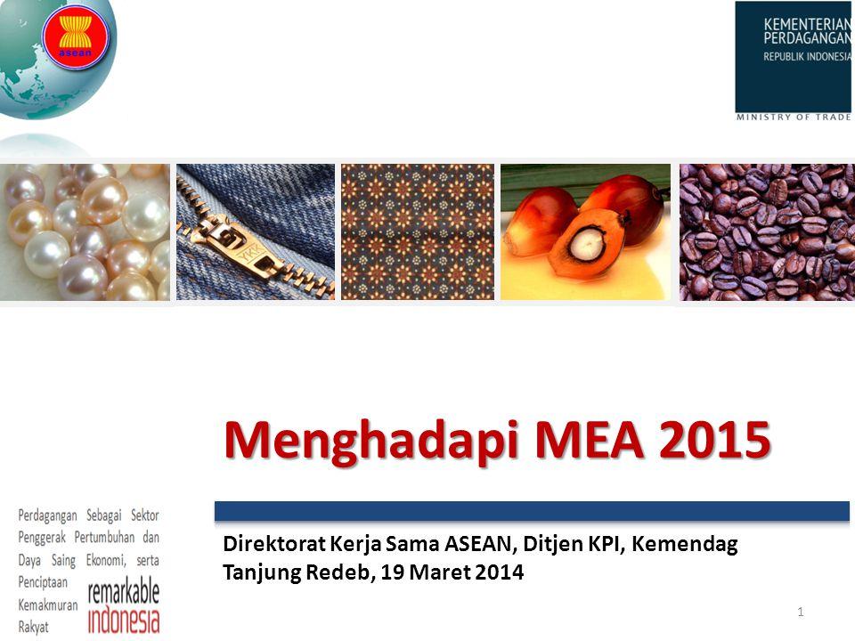 Direktorat Kerja Sama ASEAN, Ditjen KPI, Kemendag Tanjung Redeb, 19 Maret 2014 1 Menghadapi MEA 2015