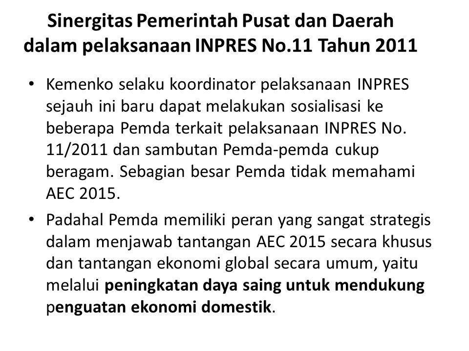 Sinergitas Pemerintah Pusat dan Daerah dalam pelaksanaan INPRES No.11 Tahun 2011 Kemenko selaku koordinator pelaksanaan INPRES sejauh ini baru dapat melakukan sosialisasi ke beberapa Pemda terkait pelaksanaan INPRES No.