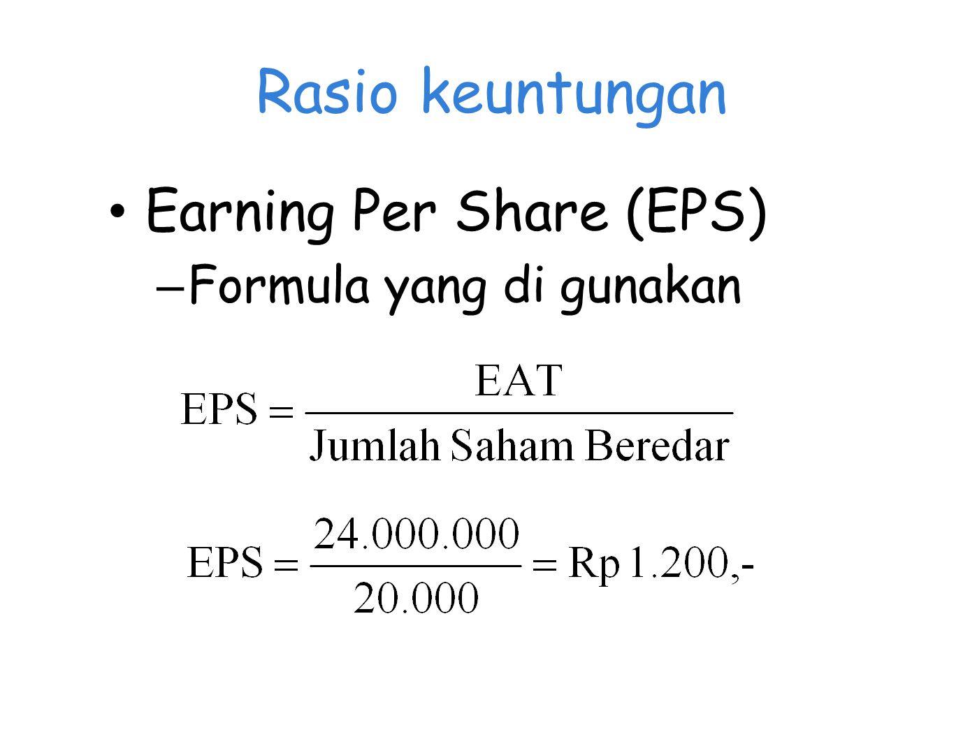 Rasio keuntungan Earning Per Share (EPS) – Formula yang di gunakan