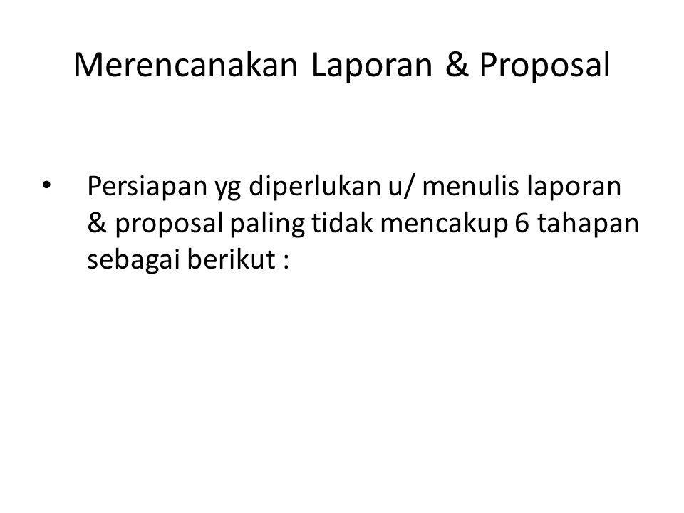 Merencanakan Laporan & Proposal Persiapan yg diperlukan u/ menulis laporan & proposal paling tidak mencakup 6 tahapan sebagai berikut :
