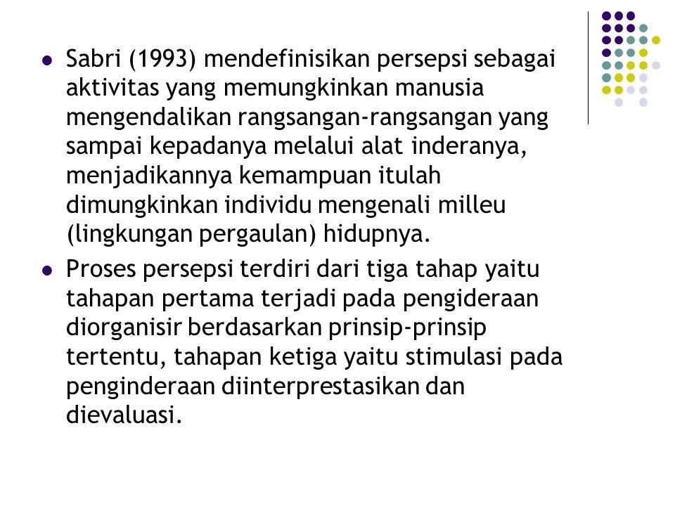 Sabri (1993) mendefinisikan persepsi sebagai aktivitas yang memungkinkan manusia mengendalikan rangsangan-rangsangan yang sampai kepadanya melalui ala