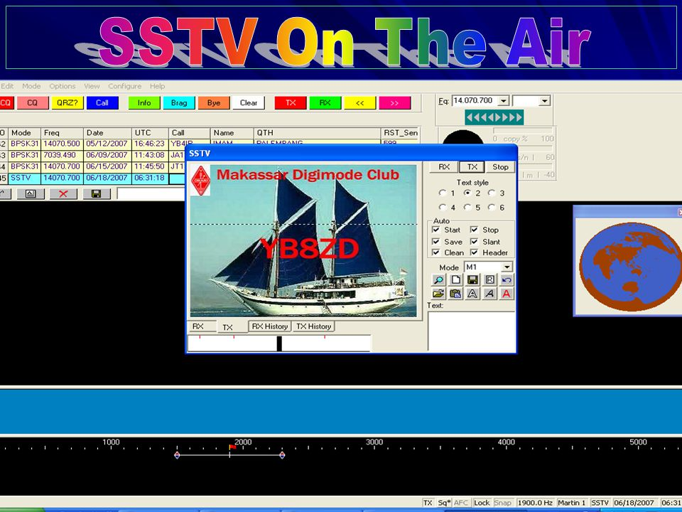 YB8ZD MAKASSAR DIGIMODE CLUB 9 Tahap-3 Click Tab TX untuk memulai mengirim gambar.