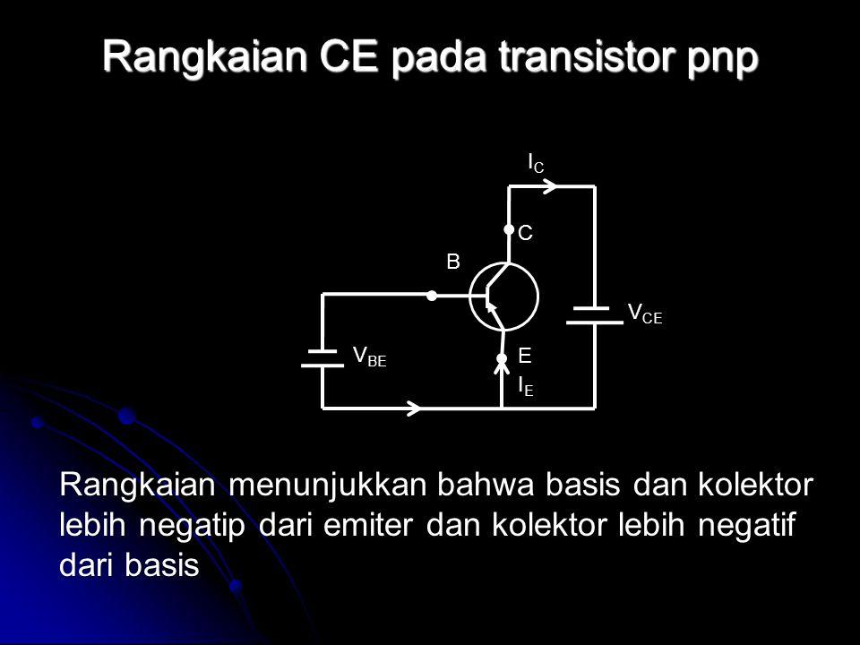 Rangkaian CE pada transistor pnp Rangkaian menunjukkan bahwa basis dan kolektor lebih negatip dari emiter dan kolektor lebih negatif dari basis IEIE I
