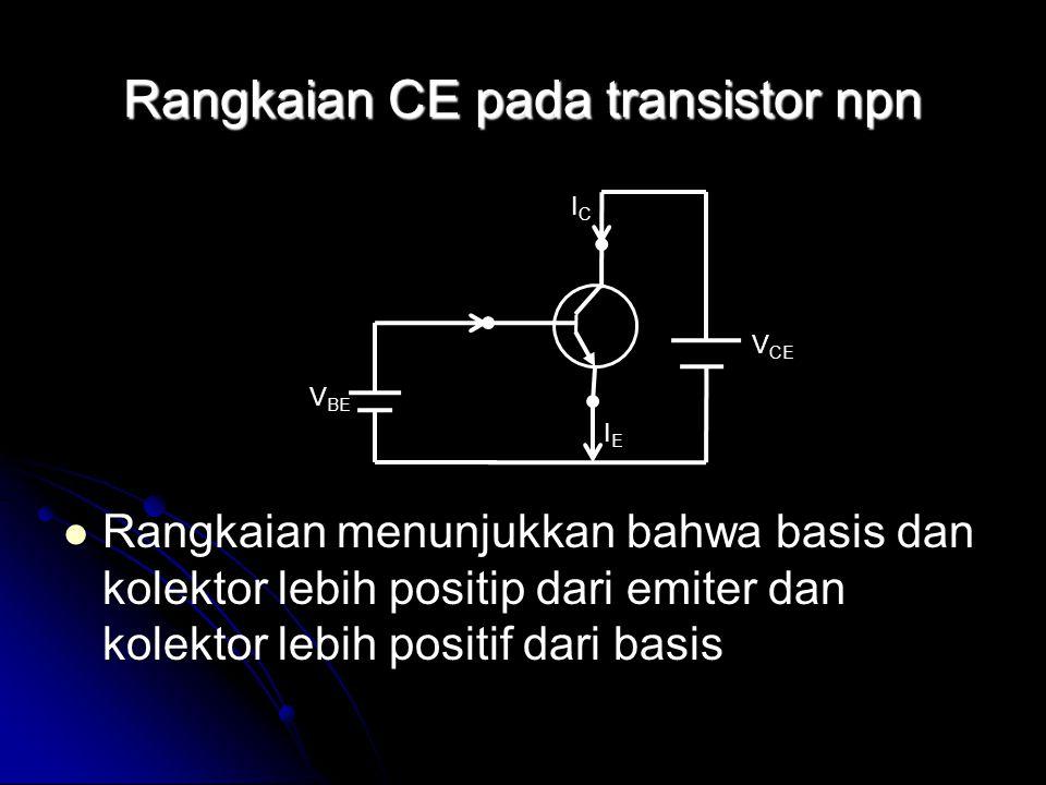 Rangkaian CE pada transistor npn Rangkaian menunjukkan bahwa basis dan kolektor lebih positip dari emiter dan kolektor lebih positif dari basis Rangka