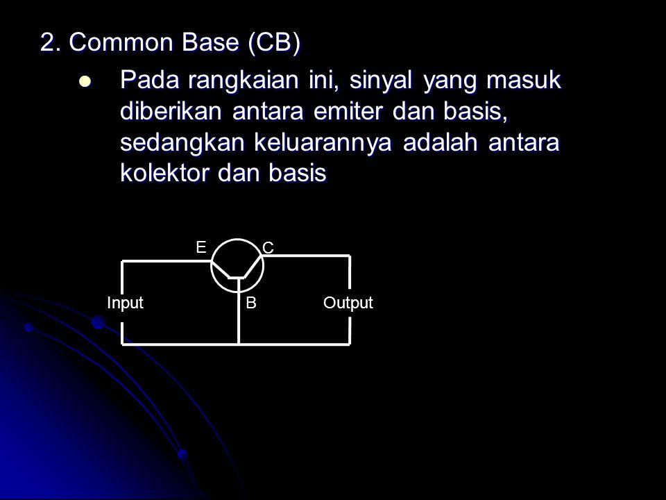 2. Common Base (CB) Pada rangkaian ini, sinyal yang masuk diberikan antara emiter dan basis, sedangkan keluarannya adalah antara kolektor dan basis Pa