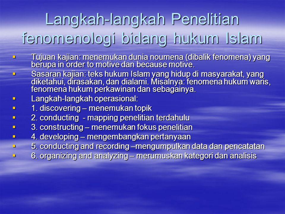 Langkah-langkah Penelitian fenomenologi bidang hukum Islam  Tujuan kajian: menemukan dunia noumena (dibalik fenomena) yang berupa in order to motive