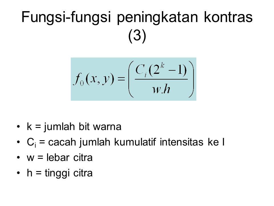 Fungsi-fungsi peningkatan kontras (3) k = jumlah bit warna C i = cacah jumlah kumulatif intensitas ke I w = lebar citra h = tinggi citra