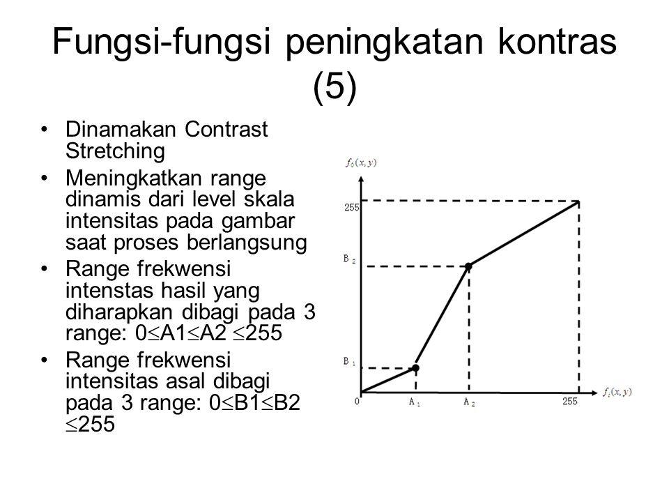 Fungsi-fungsi peningkatan kontras (5) Dinamakan Contrast Stretching Meningkatkan range dinamis dari level skala intensitas pada gambar saat proses ber