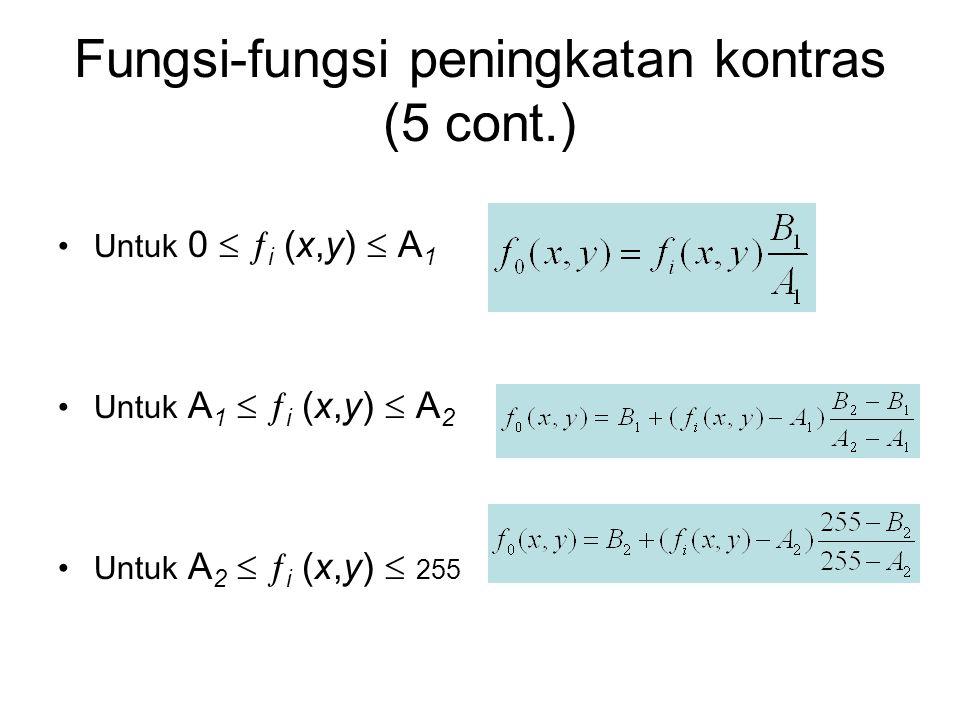 Fungsi-fungsi peningkatan kontras (5 cont.) Untuk 0   i (x,y)  A 1 Untuk A 1   i (x,y)  A 2 Untuk A 2   i (x,y)  255