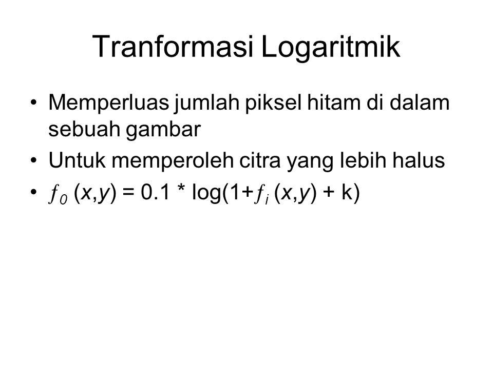 Tranformasi Logaritmik Memperluas jumlah piksel hitam di dalam sebuah gambar Untuk memperoleh citra yang lebih halus  0 (x,y) = 0.1 * log(1+  i (x,y