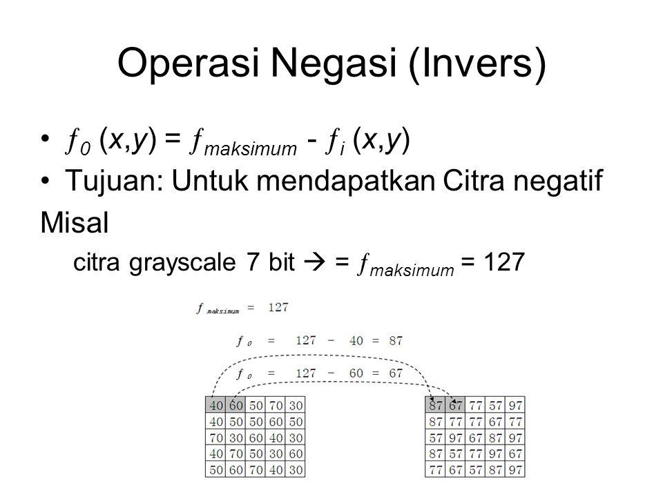 Operasi Negasi (Invers)  0 (x,y) =  maksimum -  i (x,y) Tujuan: Untuk mendapatkan Citra negatif Misal citra grayscale 7 bit  =  maksimum = 127