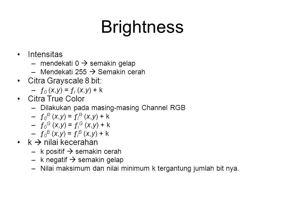Brightness Intensitas –mendekati 0  semakin gelap –Mendekati 255  Semakin cerah Citra Grayscale 8 bit: –  0 (x,y) =  i (x,y) + k Citra True Color
