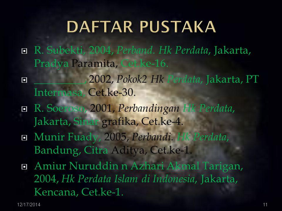  R. Subekti, 2004, Perband. Hk Perdata, Jakarta, Pradya Paramita, Cet.ke-16.
