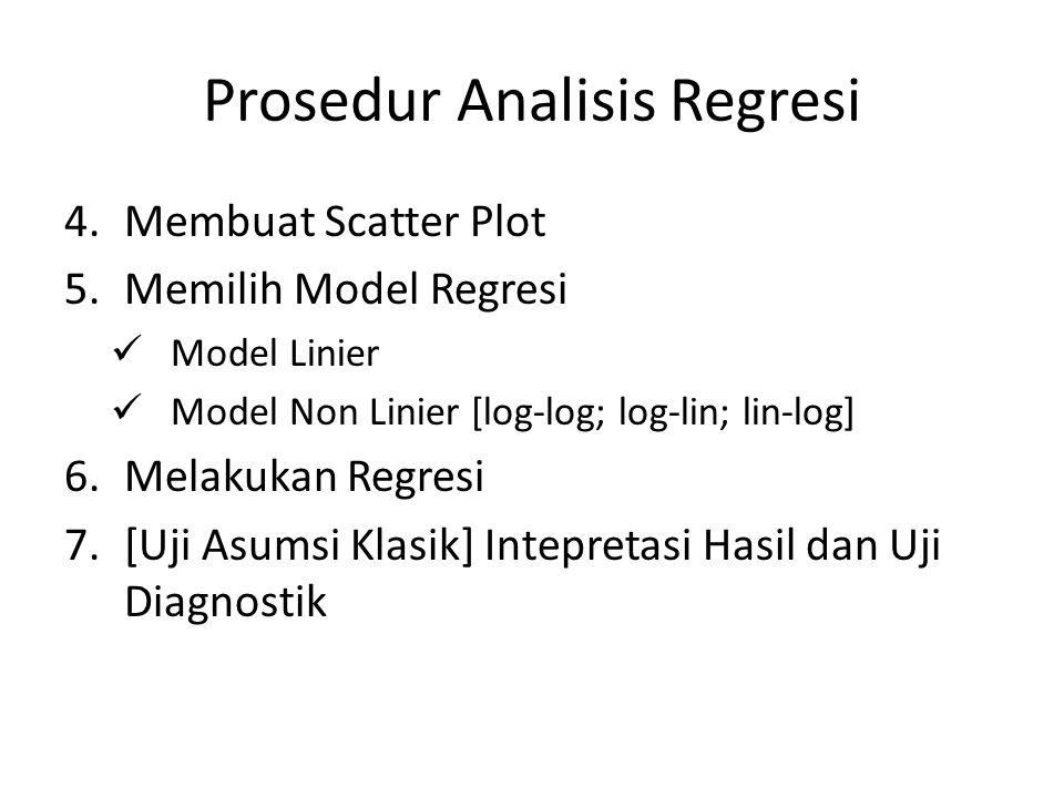 Prosedur Analisis Regresi 1.Menetapkan Model Ekonomi Y = f (X 1, X 2, X 3, …,  ) 2.Menetapkan Hipotesa dan Menyusun Landasan Teori Hipotesa One tailH