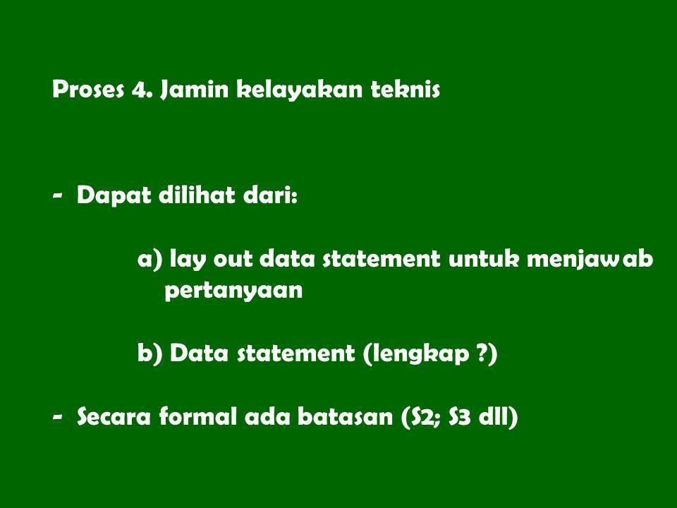 Proses 4. Jamin kelayakan teknis - Dapat dilihat dari: a) lay out data statement untuk menjawab pertanyaan b) Data statement (lengkap ?) - Secara form