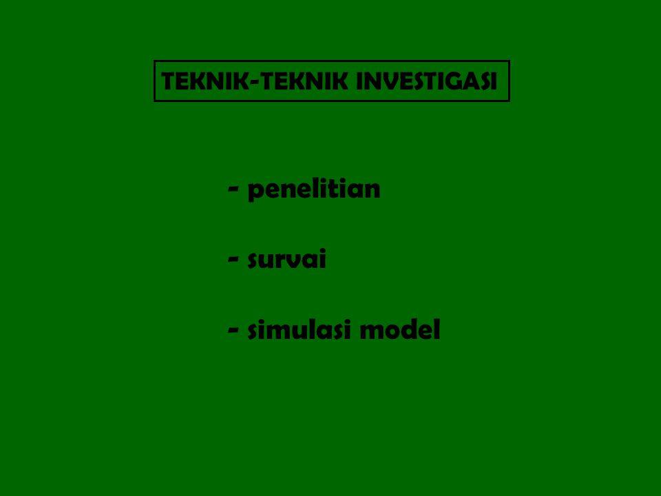 TEKNIK-TEKNIK INVESTIGASI - penelitian - survai - simulasi model