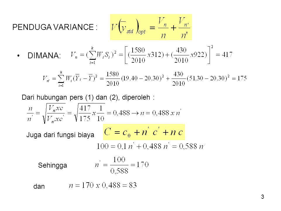 3 PENDUGA VARIANCE : DIMANA: Dari hubungan pers (1) dan (2), diperoleh : Juga dari fungsi biaya Sehingga dan