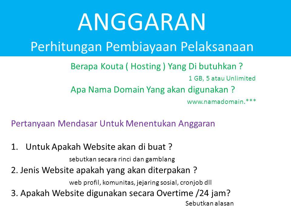 Berapa Kouta ( Hosting ) Yang Di butuhkan ? 1 GB, 5 atau Unlimited Apa Nama Domain Yang akan digunakan ? www.namadomain.*** Pertanyaan Mendasar Untuk