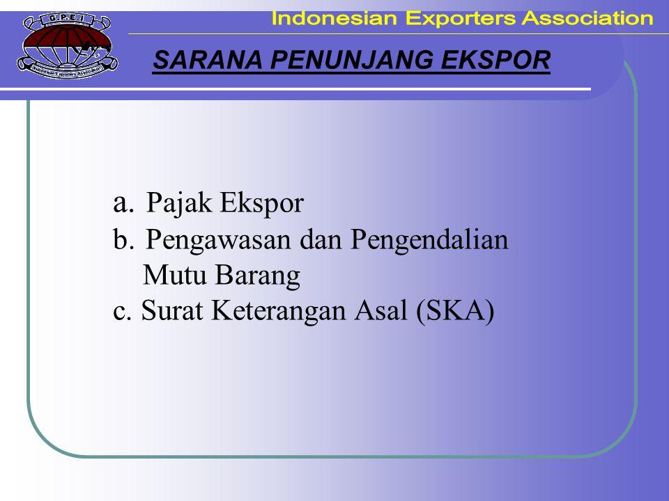 SARANA PENUNJANG EKSPOR a. Pajak Ekspor b. Pengawasan dan Pengendalian Mutu Barang c. Surat Keterangan Asal (SKA)